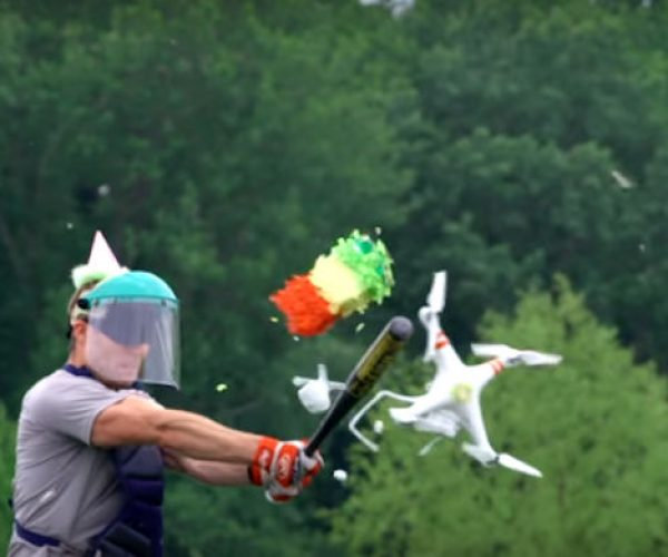 Drone Doubles as a Piñata, Doesn't Elude for Long