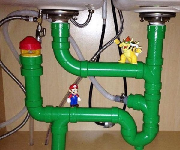 Mario and Bowser Live Beneath This Guy's Kitchen Sink