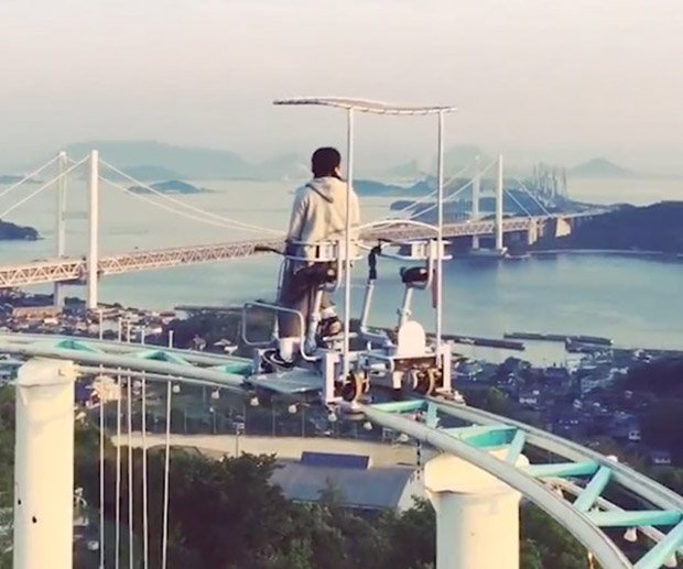 This Roller Coaster In Japan Is PedalPowered Technabob - Pedal powered skycycle rollercoaster japan amazing