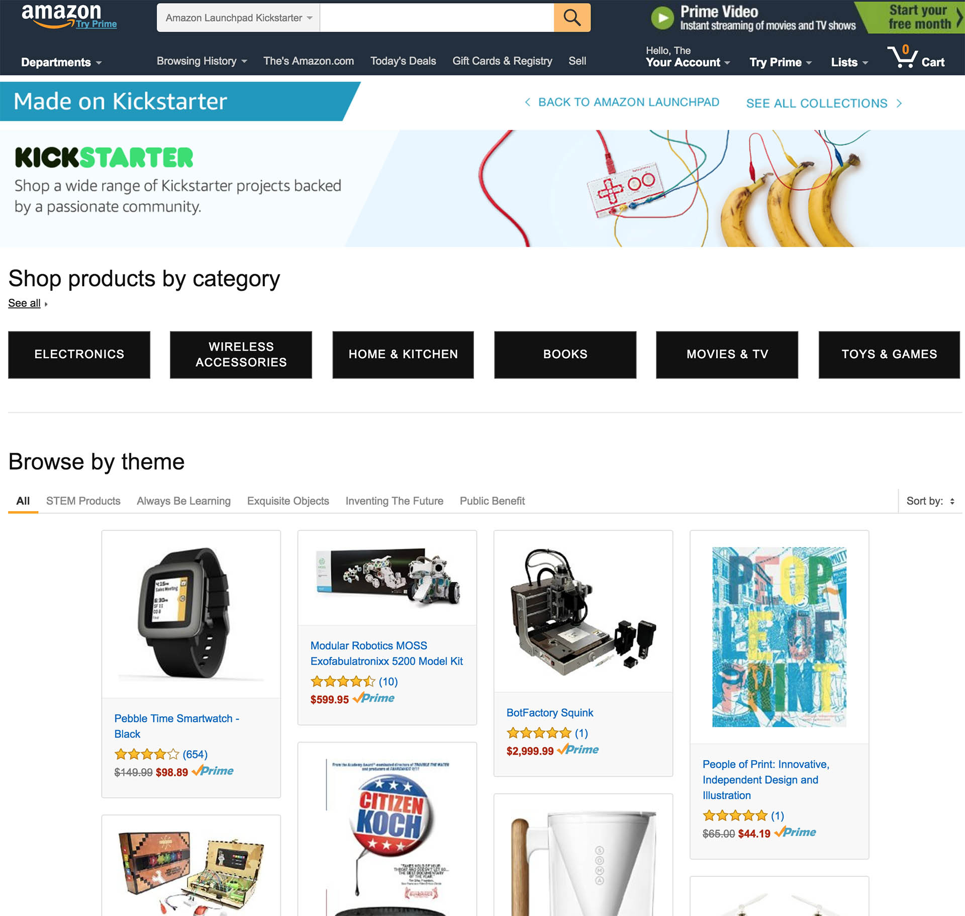 Amazon Launches a Store for Kickstarter Products
