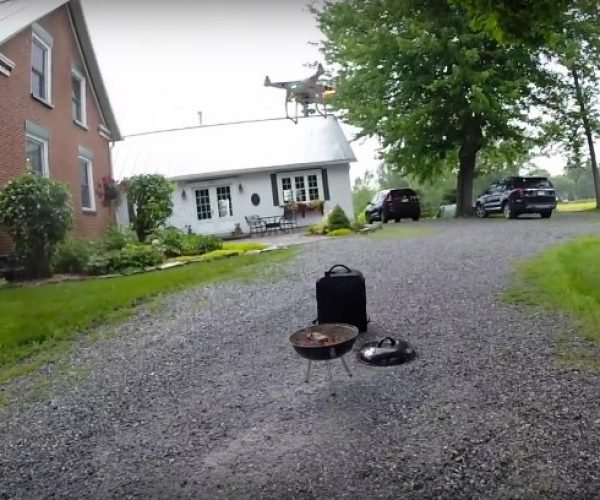 Guy Cooks a Steak Using a Flying Drone