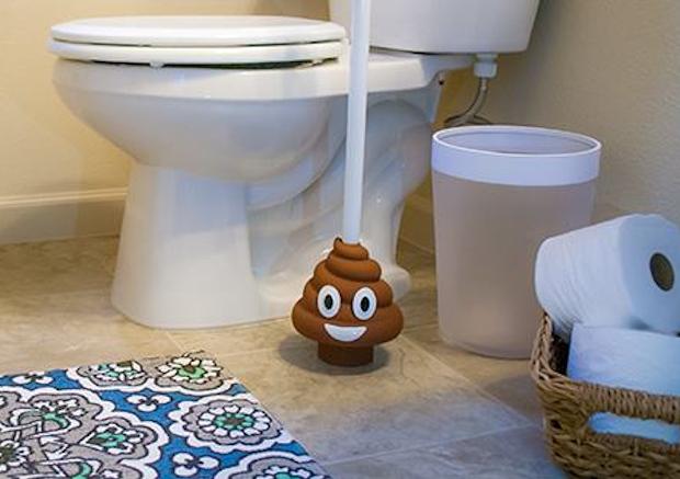 unclog your toilet with the poo emoji plunger technabob. Black Bedroom Furniture Sets. Home Design Ideas