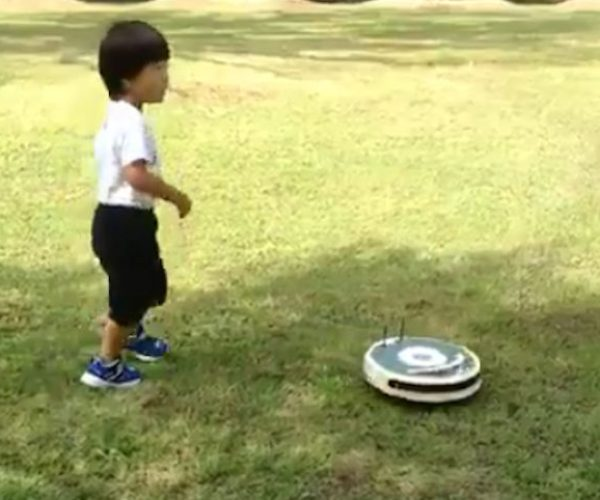 A Supercharged Roomba Speeds Around a Park