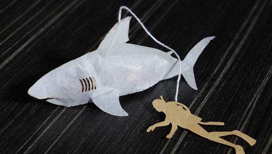 Shark tea bags we 39 re gonna need a bigger mug technabob for Fish tea bags