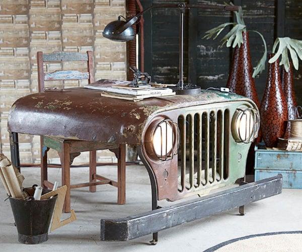 Vintage Jeep Hood Turned into a Desk