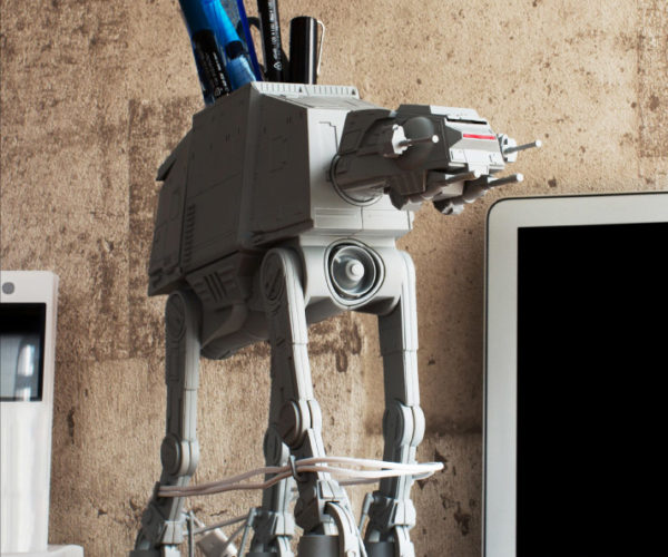 Take Down This AT-AT Desk Organizer with Your Charging Cables