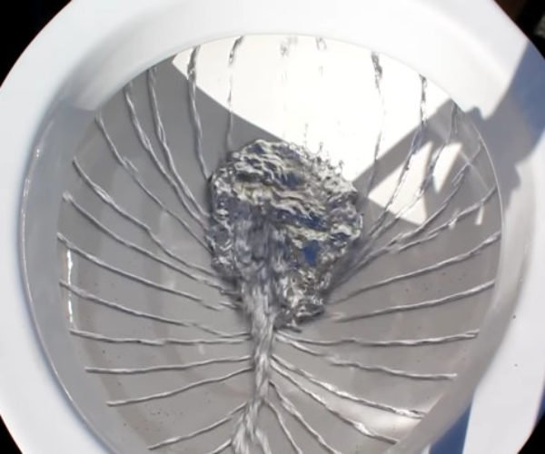 Watch a Bucket of Mercury Flushed Down a Toilet