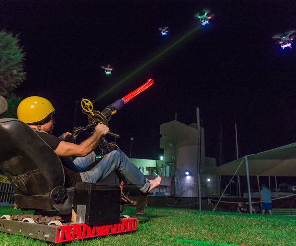 Playing Real Life Space Invaders with Drones