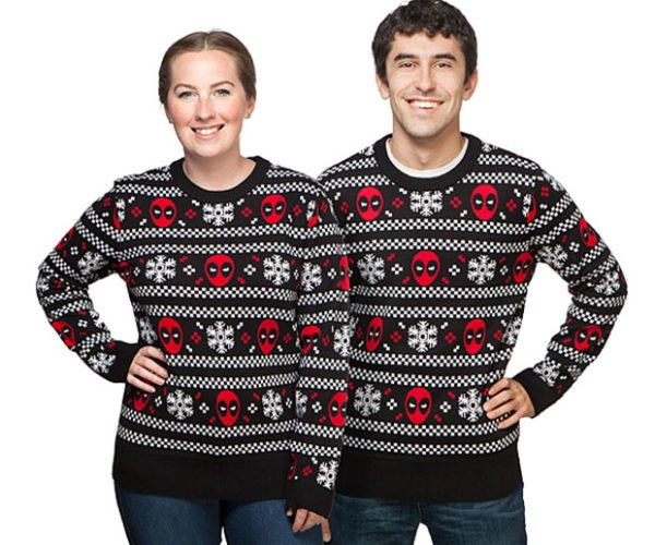 Deadpool Ugly Christmas Sweater Looks Perfect with Brown Pants