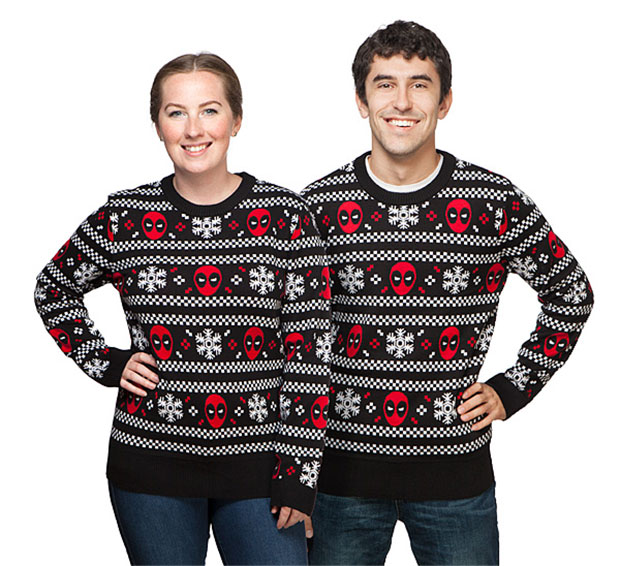 Deadpool Knitting Pattern : Deadpool Ugly Christmas Sweater Looks Perfect with Brown Pants - Technabob