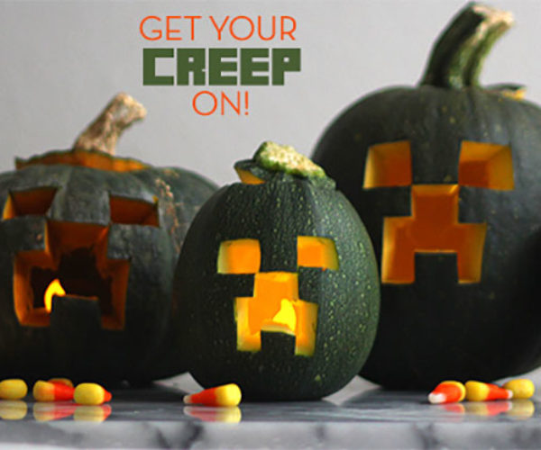 Minecraft Creeper Jack-o-Lanterns are Halloween Perfection
