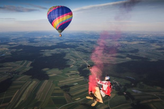 Marco Fuerst performs the Megaswing over the Waldviertel area, Austria on July 7th 2016