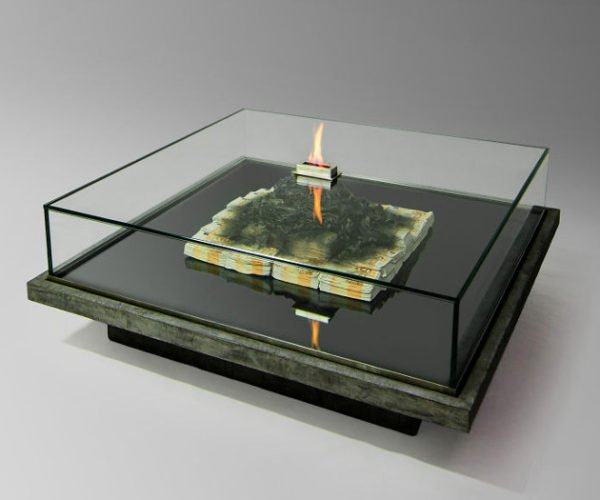 This Glass Table Looks Like It Has Burning Money Inside