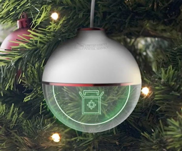 This USPS Ornament Displays Package Tracking Info