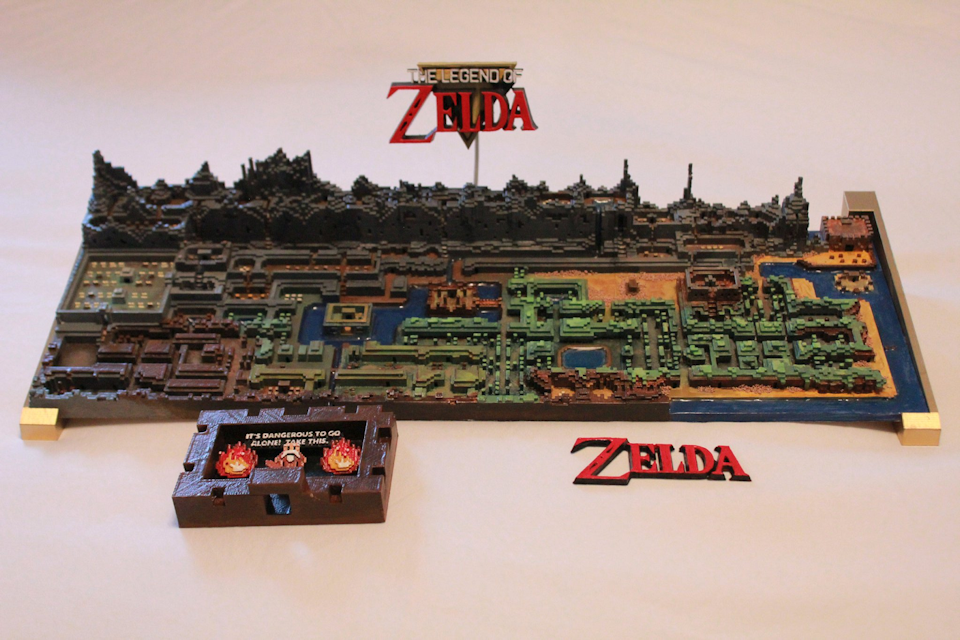 Original the legend of zelda map printed in 3d technabob these days you can just 3d print a detailed map like this amazing replica of the games entire overworld gumiabroncs Gallery