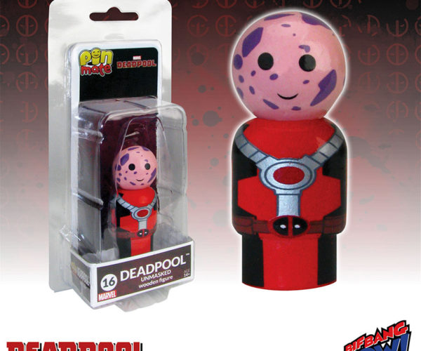Deadpool Unmasked Pin Mate Wooden Figure Looks Like an Avocado's Offspring