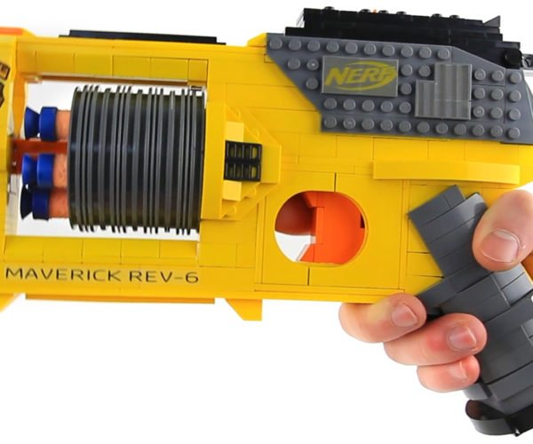 This LEGO NERF Maverick REV-6 Blaster Replica Really Works