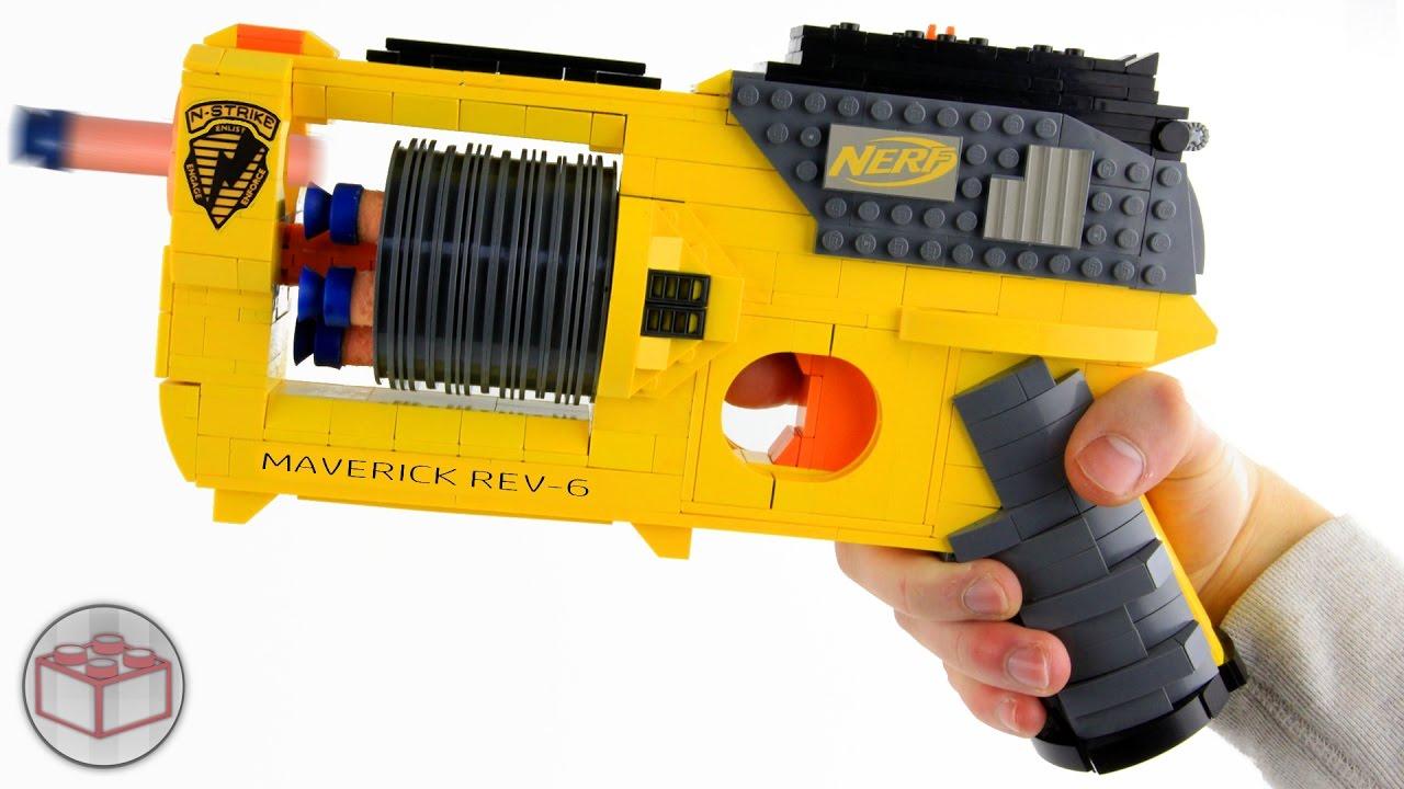 This LEGO NERF Maverick REV-6 Blaster Replica Really Works
