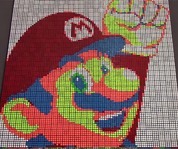 Stop-motion Mario Made with Rubik's Cubes