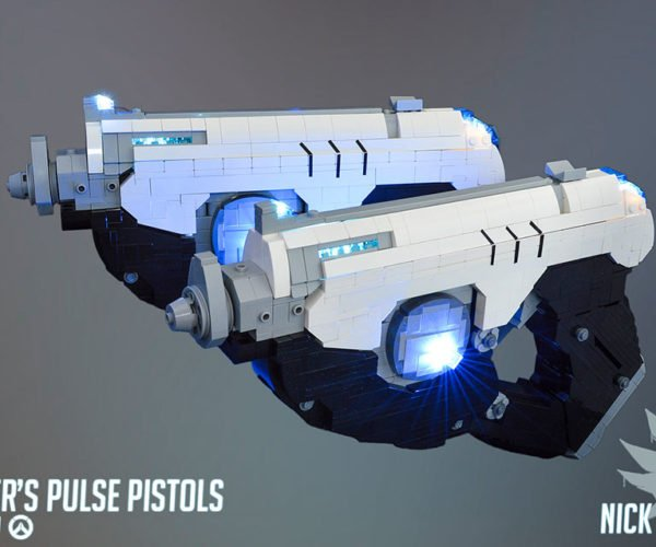 Tracer's Pulse Pistols from Overwatch Recreated in LEGO