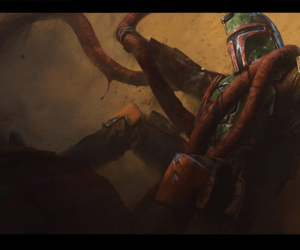 Artist Envisions Boba Fett's Escape from the Sarlacc Pit