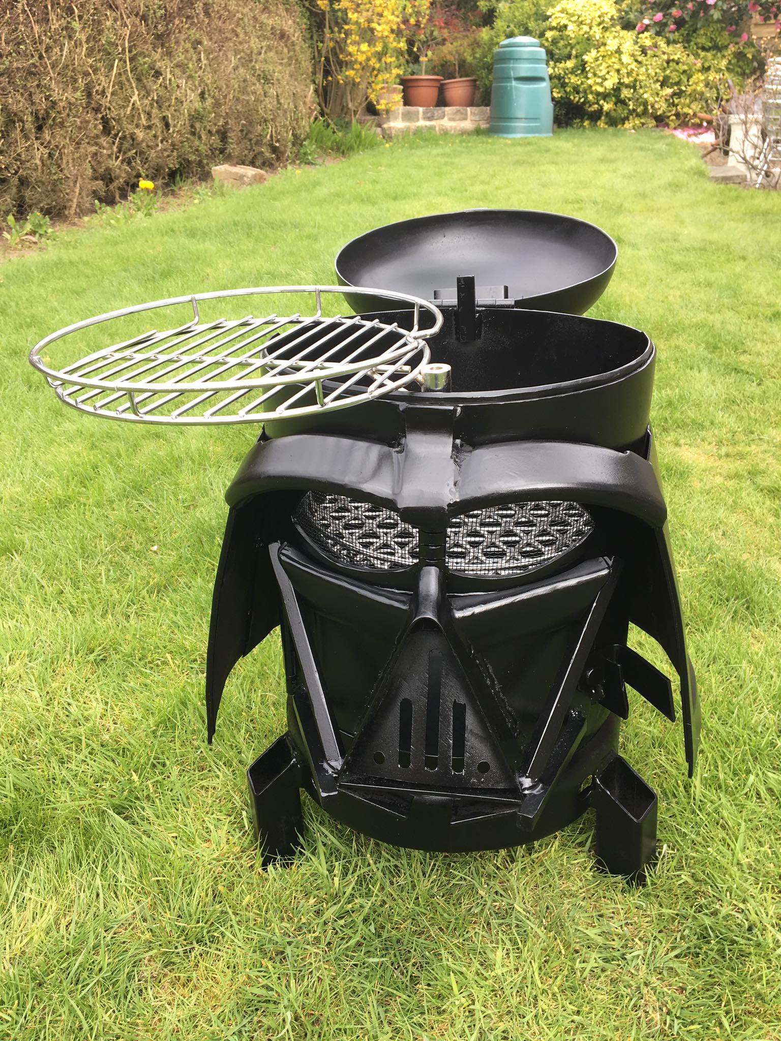 darth vader backyard grill and wood burner he u0027s more bbq now than