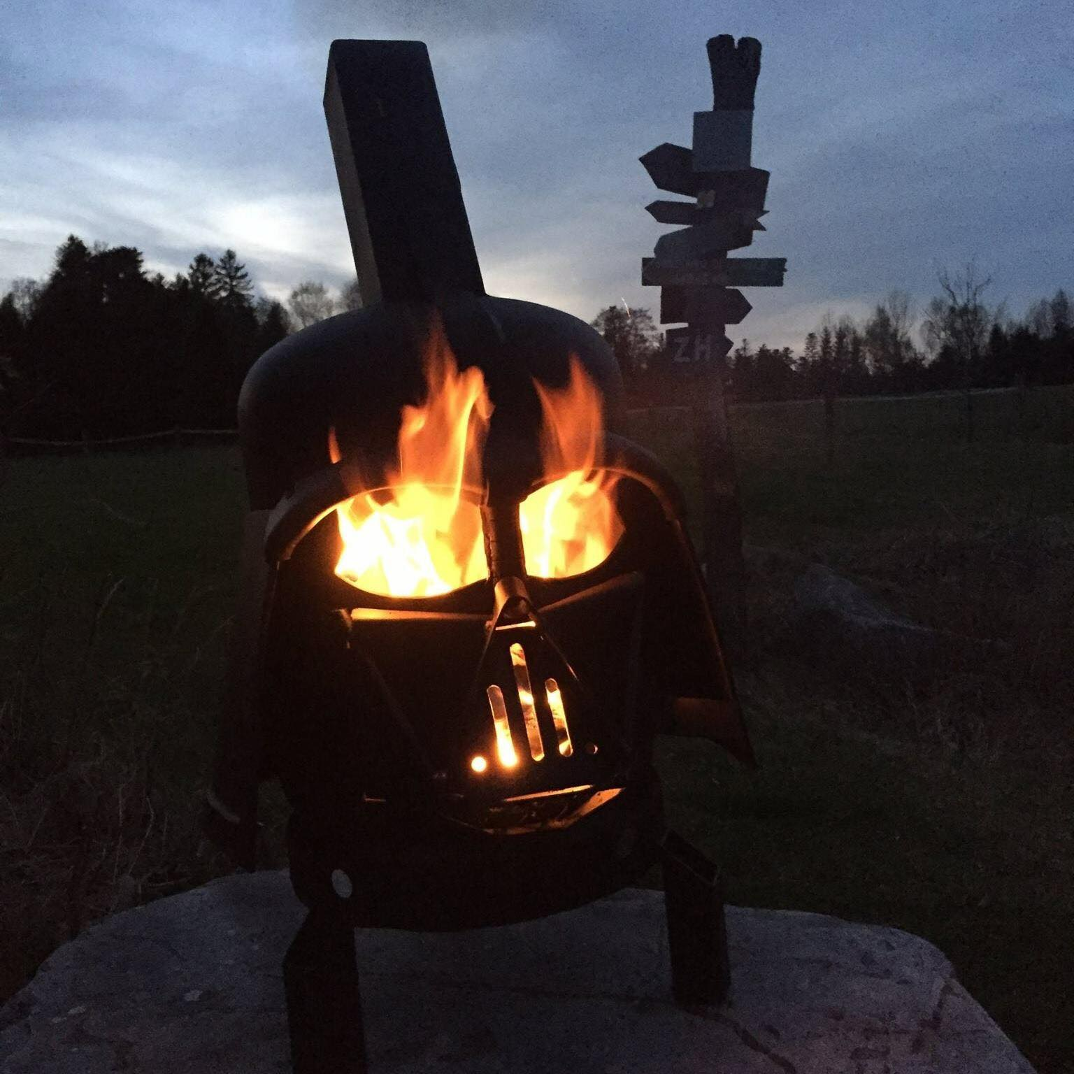 Darth Vader Backyard Grill And Wood Burner He S More Bbq