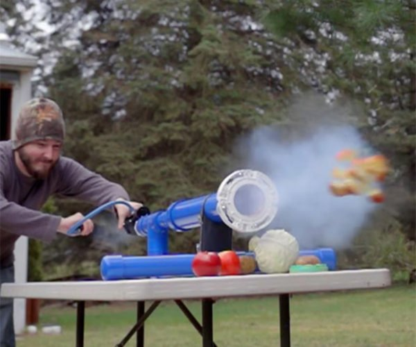 This Guy Serves and Slices Fruit with a Custom Air Cannon