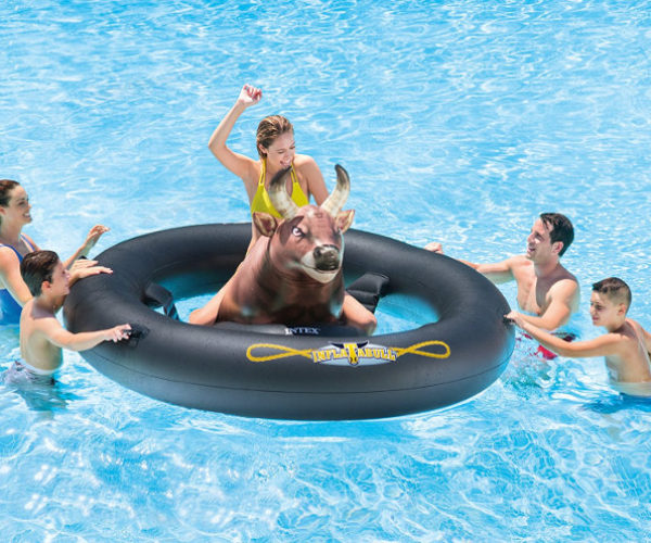InflataBull Bull-Riding Pool Float: Ride or Drown!