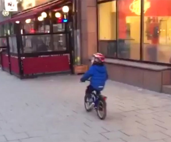 Little Boy Crashes Bike Because of Booty