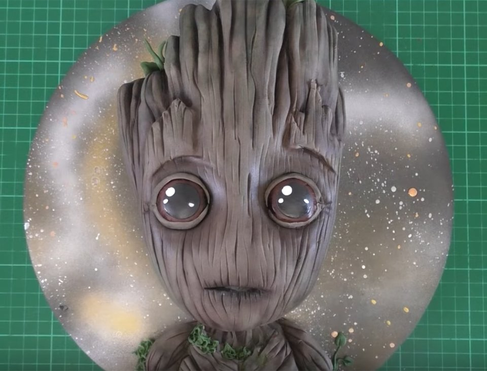 Baby Groot Cake Template