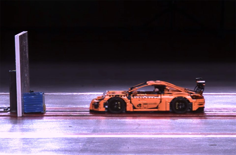 Lego Porsche 911 shatters beautifully in a crash test