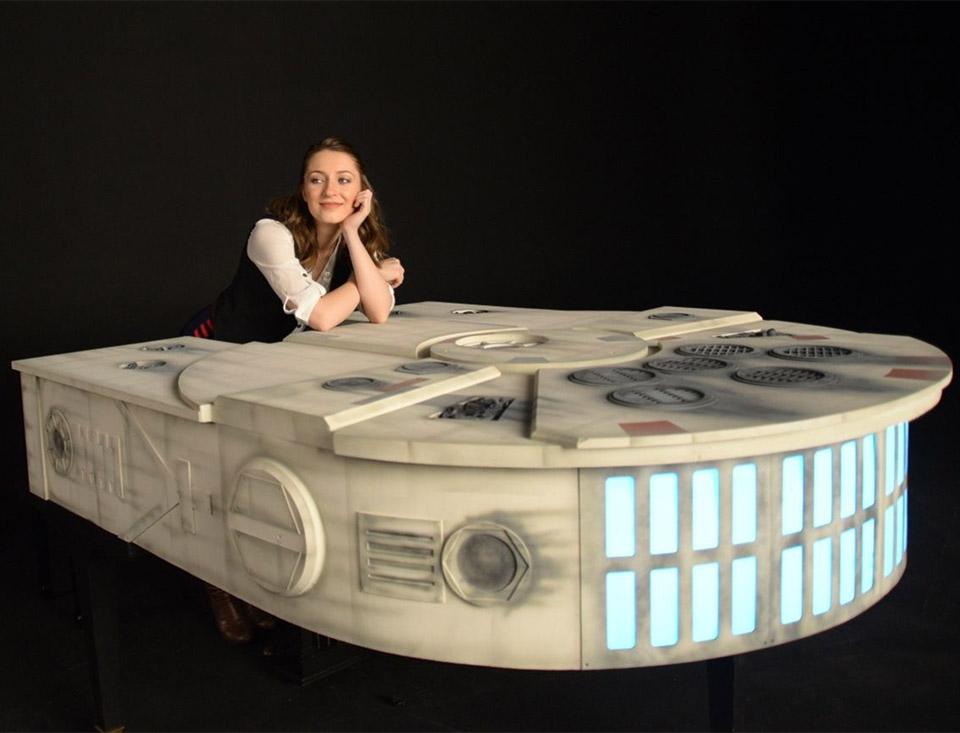 millennium falcon piano for sale technabob. Black Bedroom Furniture Sets. Home Design Ideas