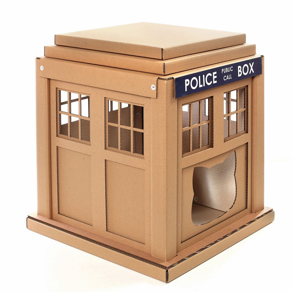 Doctor Who TARDIS Cardboard Cat House: Scratchier on the ...