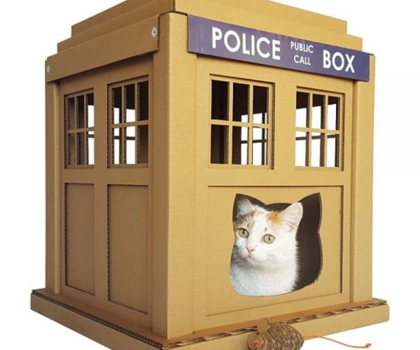 Doctor Who TARDIS Cardboard Cat House: Scratchier on the Inside
