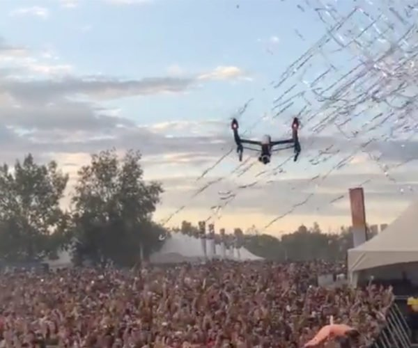 Drone Gets Shot Down by Confetti Cannon