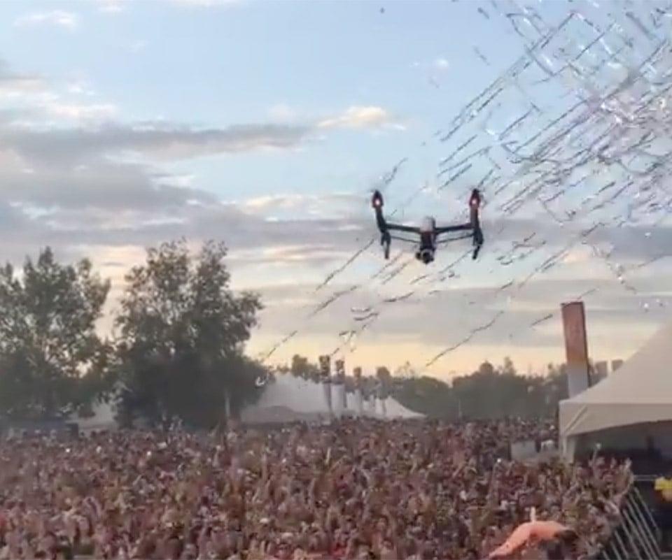 drone gets shot down by confetti cannon technabob