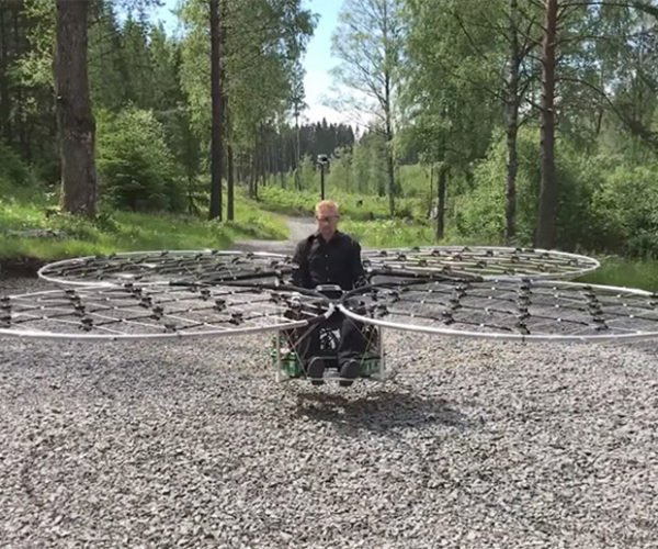 Guy Takes Flight on His Giant Drone