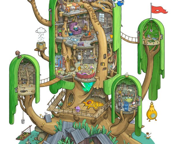 Explore Every Detail of Finn and Jake's Tree Fort