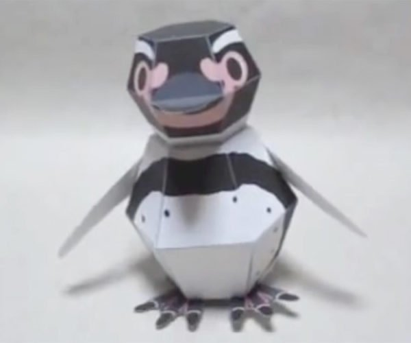 This Papercraft Penguin Assembles Itself When Dropped