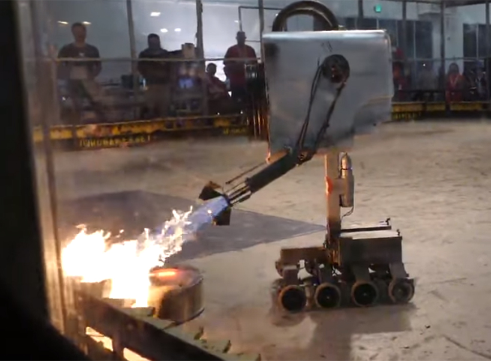 giant rick and morty butter passing robot gets a flamethrower you