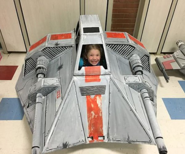 Dad Builds Cardboard Star Wars Snowspeeder for His Daughter
