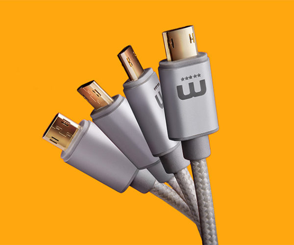 Reversible MicroUSB Charging Cable Works Rightside-up or Upside-down