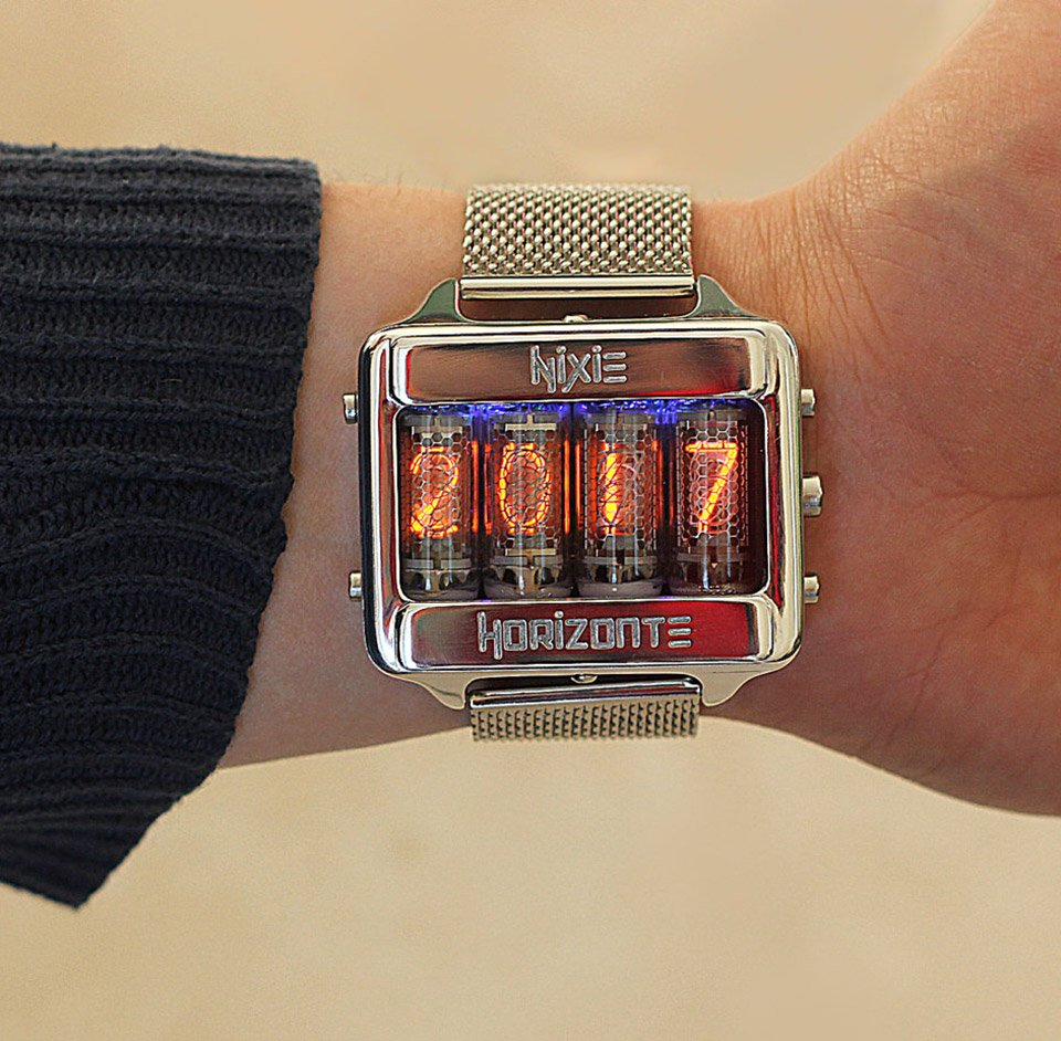 This Gorgeous Timepiece Features A Body Milled From Block Of Aluminum And Brass Its Got Four Mini Nixie Tubes So It Can Display