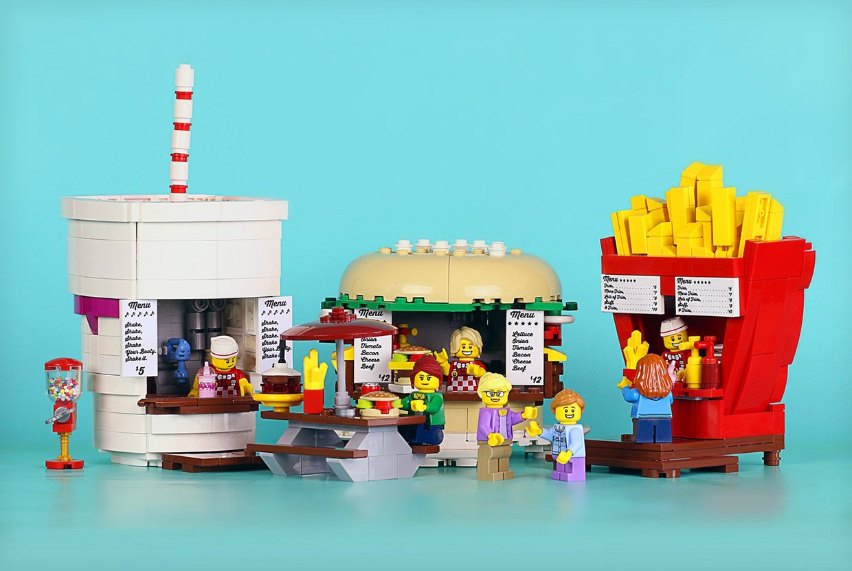 Lego Toy Food : Lego food stands look good enough to eat technabob