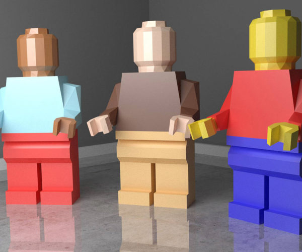 Low Poly Papercraft LEGO Figures Stand 35″ Tall: Not So Mini Figs