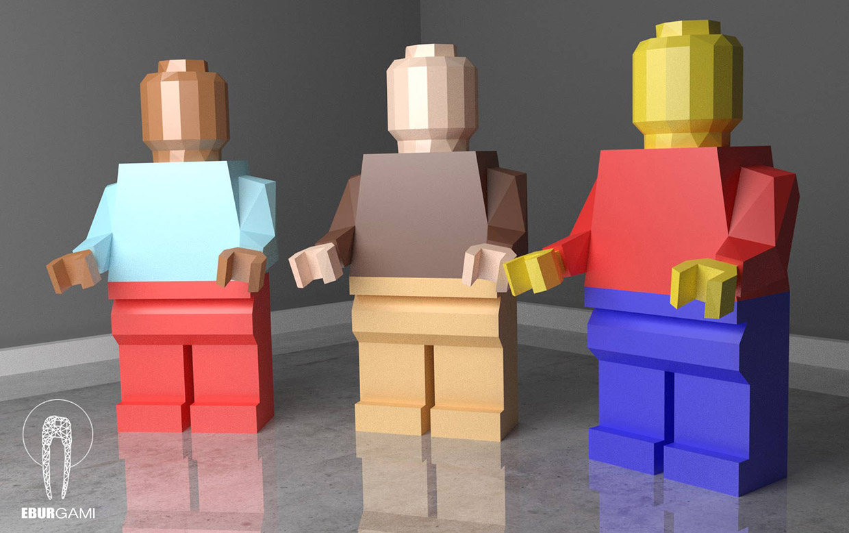 Low Poly Papercraft Lego Figures Stand 35 Tall Not So