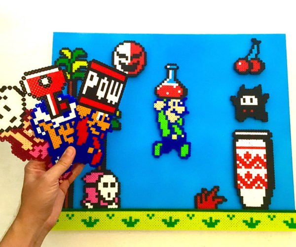 Build Your Own Level with this Magnetic Super Mario Bros. 2 Pixel Art Board