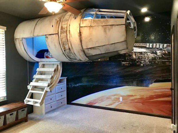 Millennium Falcon Bed Touches Down In Boy S Bedroom