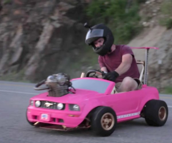 Insane Mod: Motorcycle Engine in a Barbie Power Wheels Car
